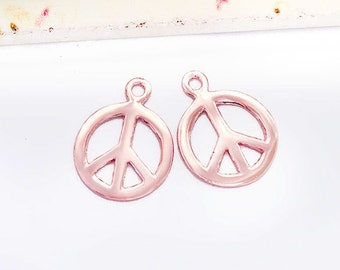 2 of 925 Sterling Silver Rose Gold Vermeil Style Peace Sign Charms 12mm.  :pg0441