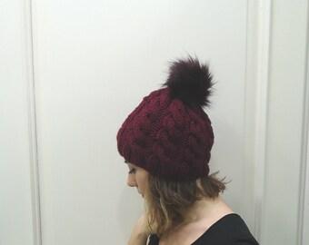 BURGUNDY CABLED BEANIE,Pompom beanie,wool hat,fur pompom