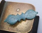 Antique brass filigree plate, part of embellishment, original patina