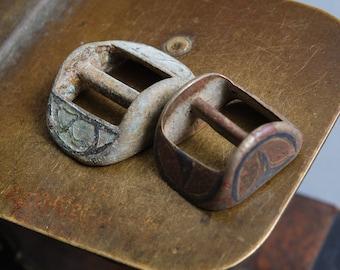 Set of 2 antique brass  belt buckles , dark patina