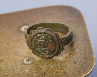 Antique  bronze brass signed ancient  ring. Original dark patina.