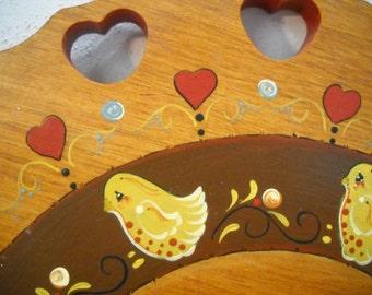 vintage tole painted lazy susan wooden mid century turn table birds u0026 hearts folk art free