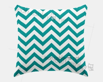 Square Pillow Cover - Teal Chevron - S1