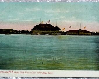 Onondaga Lake Yacht Club House Postcard, Syracuse, Liverpool, Antique Upstate N.Y. Ephemera c1910, FREE SHIPPING
