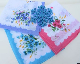 Vintage Womens Handkerchiefs, Ladies Hankies, Floral Handkerchiefs, Bridal Accessories – Pink Purple Turquoise