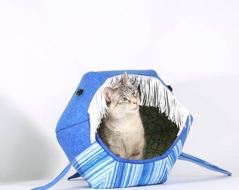 Novelty pet house that looks like a blue whale - Cat Ball® kitty bed - embarrass your cat with a funny pet bed