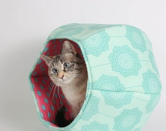 Spring Sale Cat cave bed in cotton fabric with teal flowers and pink lining -  the Cat Ball kitty bed