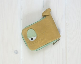 Whale wallet, Geometry, ocher and turquoise