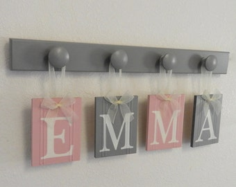 Pink and Gray Wooden Baby Nursery Wall Letter Sign Set - Grey and Light Pink Personalized Name Plaque for Baby Girl