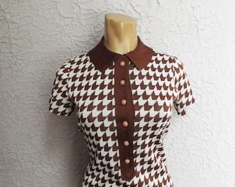 60's Vintage Mod Hounds-tooth Knit Dress med