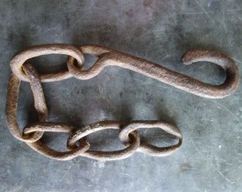 hand forged iron hook with chain