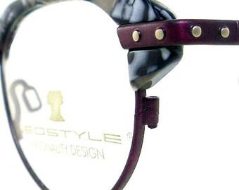 Vintage Club Glasses Eyeglasses Sunglasses New Frame Eyewear Burgundy Silver Studs