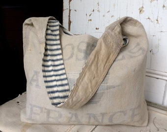 POSTES - reconstructed french post mail sack sling tote