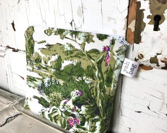 PICNIC - reconstructed vintage toile zippered pouch