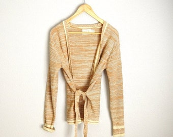 MLK - 20% off SALE - Vintage 70s Wrap Tan Knit Boho Belted Cardigan Sweater // womens small
