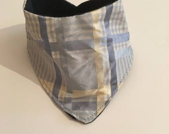 Blue stripped newborn bandana bib , tartan stripe bandana, blue shades and cream