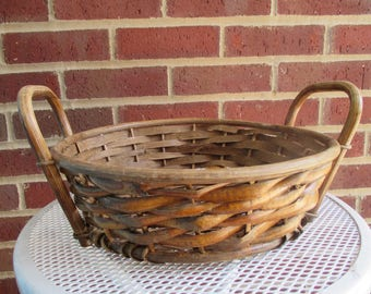 Vintage Twig Round Basket With Handles
