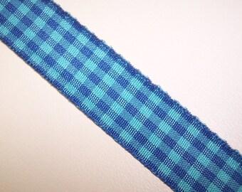 Blue on Blue Checkered Ribbon 2 1/2 Yards