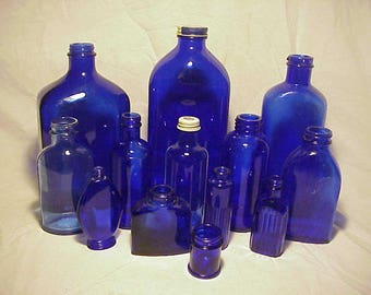 c1930s -1950s Collection Group Lot of 13 Mixed unembossed Cobalt Blue Glass Medicine, Poison & Etc. Bottles, Great Wedding for Decor No. 2
