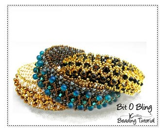 Embellished Peyote Stitch Layered Bracelet Beading Pattern Seed Bead Jewelry Tutorial Beading Instructions Beaded Cuff Tutorial  BIT O BLING