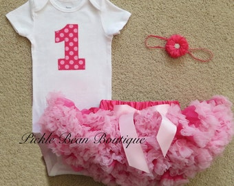 Hot Pink Candy Polka Dot, Baby Girl 1st Birthday Outfit, Bodysuit Pettiskirt Flower Headband, Girls First Birthday Outfits