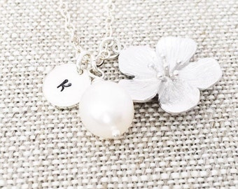 Personalized Cherry Blossom Flower Necklace, Freshwater Pearl, Sterling Silver Chain, June Birthstone