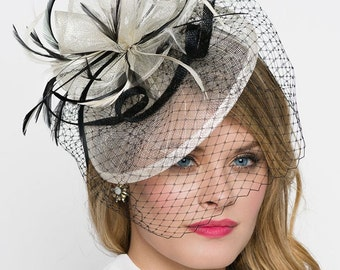 "Ivory Fascinator - ""Noor"" Ivory & Black Fascinator Hat Headband w/Ribbon Waves a Black Birdcage Veil"
