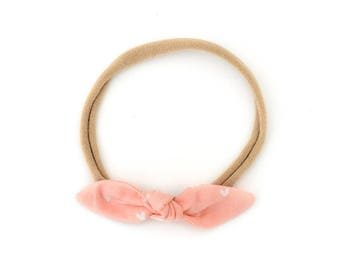 Baby Bow - Girls Headband - Peach Knot Headband