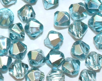 New! Bulk 4mm Crystal Bicone Light Turquoise Half Plate Beads 20, 50 or 100 pieces - #5301 cut glass crystal |AC-B4-111-HM