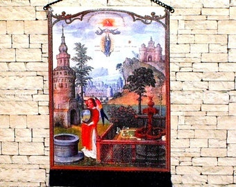 The Monastery Garden Tapestry, Medieval Dollhouse Miniature, 1/12 Scale, Hand Made
