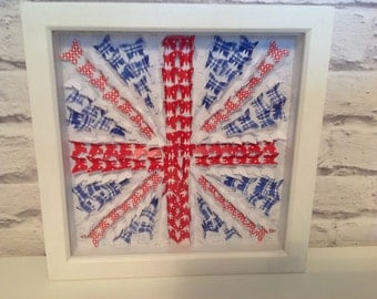 Butterfly 3D Art/Gift/Deep Box Frame/Union Jack/Picture