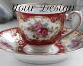 ANY DESIGN - Red and Gold  Customized Vintage Demitasse Cup, Personalized Espresso Cup, Monogram Wedding Cup, Skull Espresso Cup, Bespoke