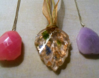 Easter/Spring Necklaces ~ Trio of Pink and Purple and Soft Pink Glass Pendant Necklaces