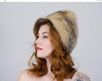 25% OFF SALE / 1960s vintage hat / badger fur cloche / Saks Fifth Avenue