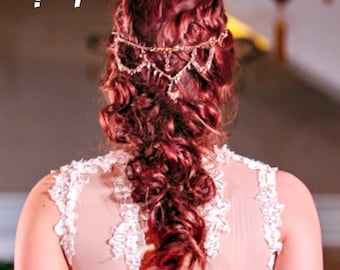 Apricot Blush Headpiece Bridal Headpiece Wedding Headpiece Bridal Head Chain Head Jewelry Chain Head Chain Hair Jewelry Headband - April
