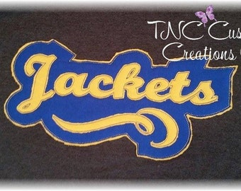 Embroidered Distressed Jackets, Bulldogs, Bears,  Band, or Baseball applique spirit Hoodie