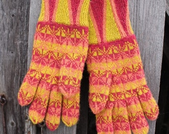 Finely Hand Knitted Estonian Gloves in Kadrina Style with Butterflies in Candy Colors