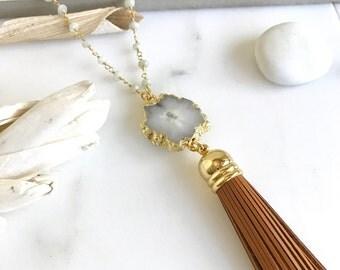 Boho Tassel Necklace. Brown and White Tassel Necklace. Long Leather Tassel Necklace. Bohemian Jewelry. Gift.