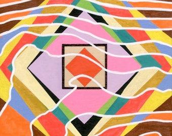 "Multi Color acrylic painting on wood panel 6""x8"" abstract geometric modern art"