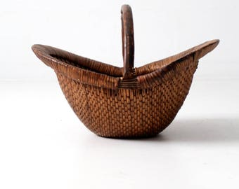 antique Chinese willow basket, market basket