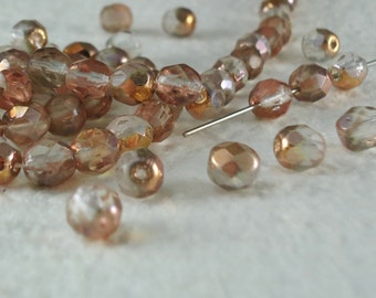 18 Glass Beads Copper Fire Polished Faceted Vintage Round 6mm Jewelry Beads