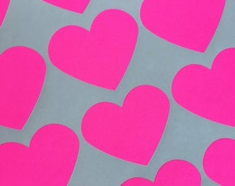 """30 Neon Pink Heart Stickers, Party Favor Stickers, Wedding Favor Stickers, Valentine's Heart Stickers - (2"""" X 2"""")"""