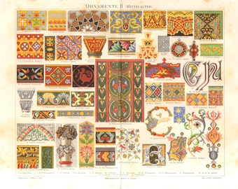 1889 Ornaments, Middle Ages, Early Christian, Byzantine, Arabian, Moorish, Roman, Gothic, Persian, Gallic, Romanesque Antique Lithograph