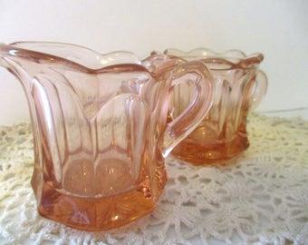 Imperial Old Williamsburg Pink Mini Sugar Bowl And Creamer
