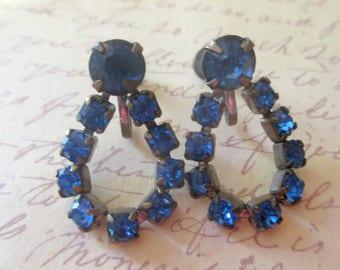 Vintage Sapphire Blue Rhinestone Earrings