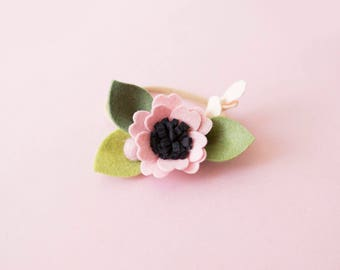 Baby girl headband, Toddler Headband, Toddler Flower Headband, Felt Flower Headband, Blush Flower Headband, Blush Headband
