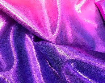 4- Way Stretch Mystique Metallic Ombre Spandex Fabric - Hot Pink and Purple