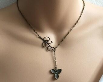 SALE Flower Necklace,Antique Brass Necklace,Hypoallergenic Jewelry,Romantic Necklace,Nickel Free Jewelry,Hypoallergenic Necklace