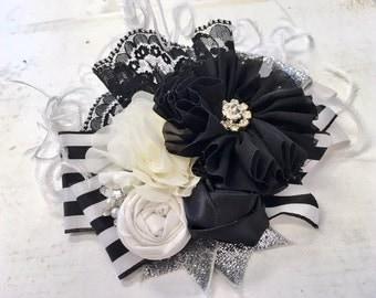Black, Silver & Ivory large floral headband/ hairclip