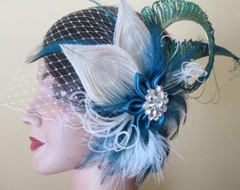 Teal Wedding Peacock Fascinator, Teal Kanzashi Hair Flower, Teal & Ivory- Champagne Feather Bridal Head Piece, French Veil, Something Blue